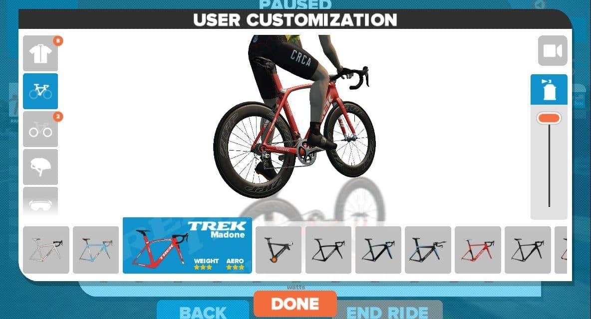 Come cambiare bici velocemente in Zwift
